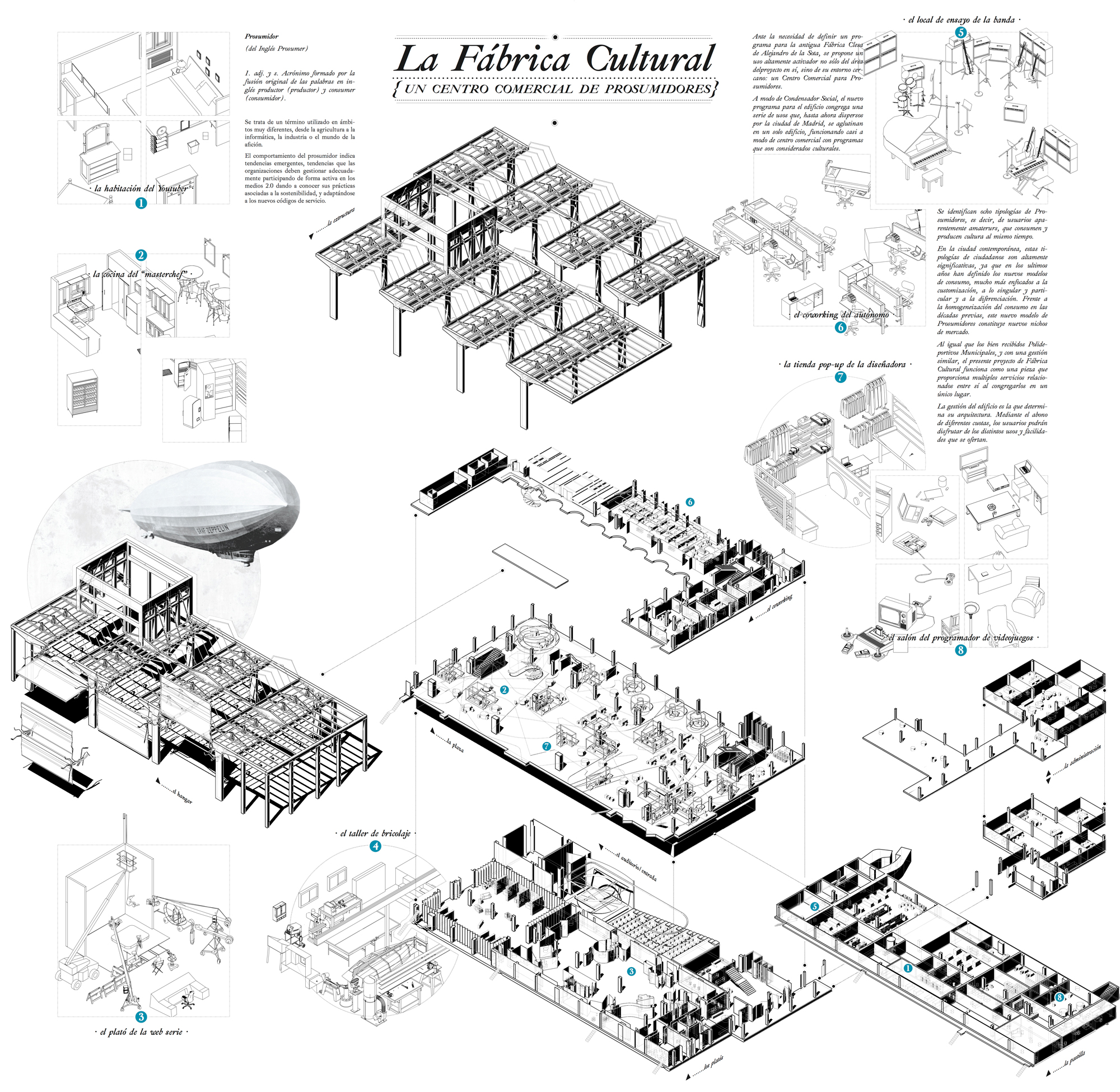 Exploded Axonometry of Cultural Factory Pedro Pitarch