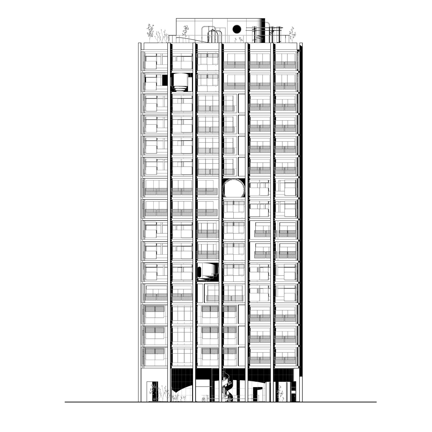 DOM project Russia Pitarch Tower Elevation Back