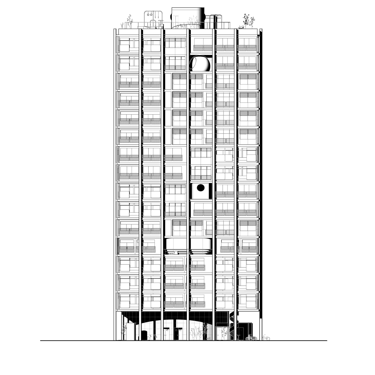 DOM project Russia Pitarch Tower Elevation Front